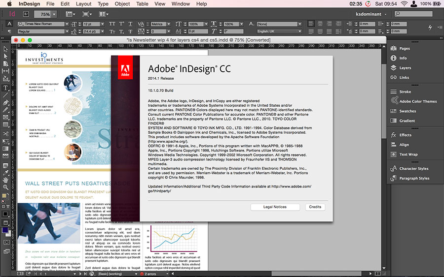 Indesign Cc workspace
